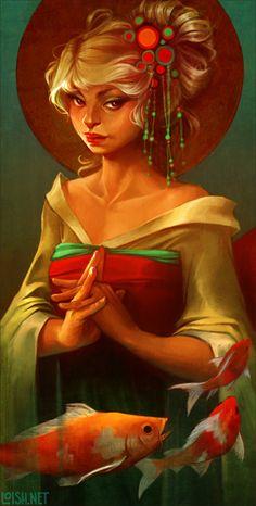 loish - girl with koi illustration