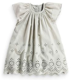 Next Girls 3-4 Years Grey Broderie Cotton Lace Tunic Dress