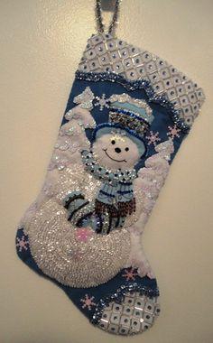 18 Beaded Felt Bucilla Snowman Christmas by TheMuseConnection, $125.00