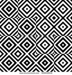 Vector seamless pattern. Chaotic background, design template with striped black white rhombuses (squares). Backdrop, texture with asymmetry. Asymmetric random swatch of card, cover, web, app