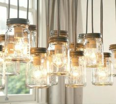 DIY Lampenschirm Modell aus Gläsern mit Metalldeckel, glühendes Licht, Glühbirnen
