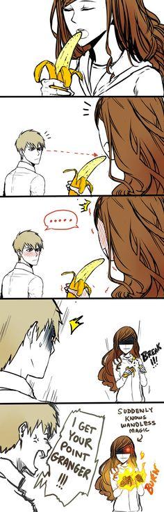 Dramione - Girl and Banana by fingernailtreez