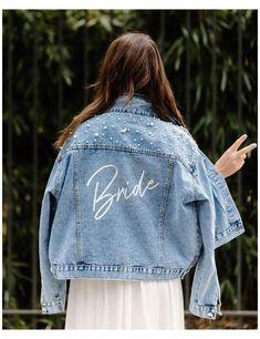 Denim Jacket With Dress, Denim Jacket Fashion, Painted Denim Jacket, Custom Denim Jackets, Leather Jackets, Wedding Jacket, Heat Press Vinyl, White Denim, Outfit