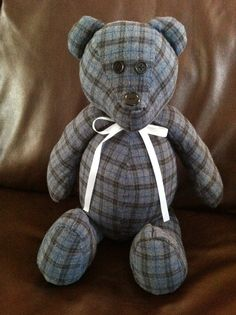 Memory Bear, made from one of my hubby's flannel shirts. :)  www.memorybearsbytricia.com