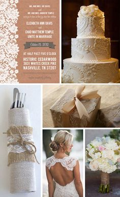 Love the lace details! but NO burlap! Fresh Jam: Kraft Paper and Lace Invitation by Jam + Toast (reminds me of my wedding..at least how the theme started out)