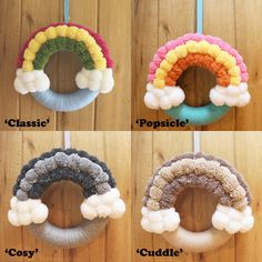 Handmade rainbow pom pom wreath perfect for nursery/childrens bedrooms. The polystyrene ring has been carefully wrapped in wool followed by the fluffy white cloud pom poms and a 3 colour rainbow. READY TO SHIP. This is great value for money considering the material costs + time