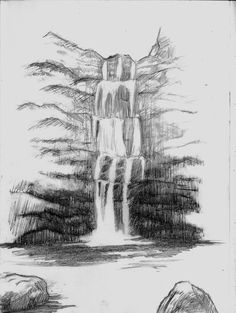 Charcoal Drawing Tips sketch, waterfall, draw Beach Drawing, Landscape Sketch, Sketches, Cool Art Drawings, Pictures To Draw, Waterfall Sketch, Nature Drawing, Waterfall Drawing, Landscape Drawings