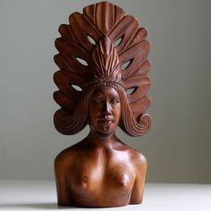 Wood Carving of Woman with Headdress