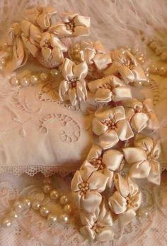 Circa 1920s A Beautiful Branch Of Cascading Ivory Silk Ribbonwork Flowers