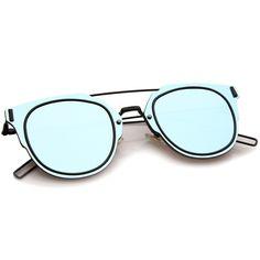 Minimal Wire Inner Rim Flat Color Mirror Lens Sunglasses A361
