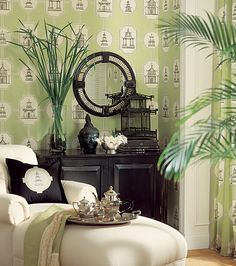 Oriental Toile Wallpaper by Thibaut. A toile wallpaper featuring black etched style oriental buildings on an apple background. Also available in a fabric. Toile Wallpaper, Room Wallpaper, Wallpaper Ideas, Oriental Wallpaper, Chinoiserie Wallpaper, Chinoiserie Elegante, Style Oriental, Oriental Decor, Oriental Bedroom