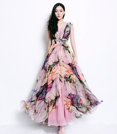 Bohemian Floral Print Long Dress Pleated Full Skirt Wrap by ReoRia, $159.00