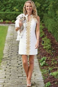 Summer Days Drifting Away Dress - White/Gold from Chocolate Shoe Boutique
