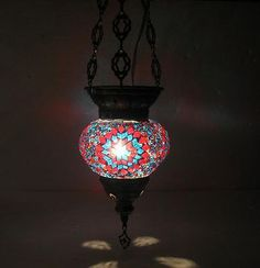 colorful handmade mosaic hanging Turkish lantern light no t 4