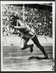 """Photograph of Olympian Jesse Owens Item From Records of the U.S. Information Agency. (1982-10/01/1999) Jesse Owens is helping us celebrate Running Day. Owens participated, and won gold, in four events at the 1936 Summer Olympics in Berlin, Germany. Let Owens' words be an inspiration to go for a walk today """"I let my feet spend as little time on the ground as possible. From the air, fast down, and from the ground, fast up."""" Source:http://go.usa.gov/D965"""
