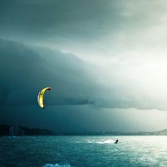 kitesurfing into the storm #kite #surf #Rewave_lab