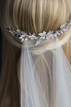 BESPOKE for Brenda_silver and blush wedding headpiece 9