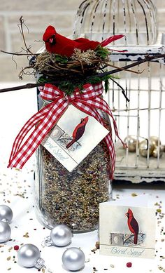 Homemade Gift for Bird Lovers - Tutorial. Such an EASY HANDMADE GIFT IDEA! Today we have a quick and easy DIY Bird Seed with Free Printable Tags for you. It makes such a wonderful gift for that special Natural Lover in your life! Valentines Bricolage, Valentines Diy, Diy Christmas Gifts, Holiday Crafts, Santa Gifts, Homemade Christmas, Spring Crafts, Christmas Christmas, Cadeau Parents