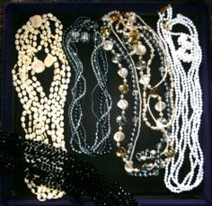 VINTAGE MULTI STRAND NECKLACE LOT ALL w/ MATCHING CLIP ON EARRINGS EX. COND.