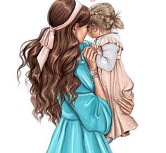 Reminds me of my daughter and I when she was younger. Mother Daughter Art, Mother Art, Mother And Child, Mommys Girl, My Baby Girl, Mode Poster, Girly M, Girly Drawings, Pretty Drawings