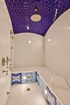 Home Interior:Luxury Modern Bathroom Decorating Ideas With Purple Color Tile Bathroom Ceiling And Unique Bathroom Design Ideas Purple Color Shades into interior design, Modern Home Decorating Ideas Purple Bathrooms, Dream Bathrooms, Beautiful Bathrooms, Luxury Bathrooms, Turquoise Bathroom, Bad Inspiration, Bathroom Inspiration, Sauna A Vapor, Luxury Shower