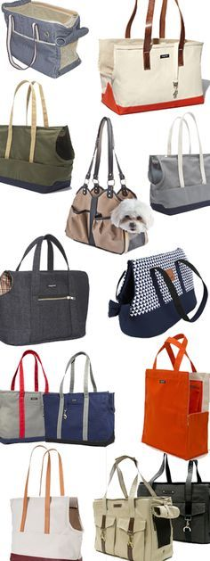 Fun dog totes - great way to take your dog with you and express your own style! Check out these and other dog carriers, purses, crate covers and more at FelixChien.com.