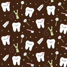 Happy Teeth & Friends - Brown & Pink custom fabric by clayvision for sale on Spoonflower