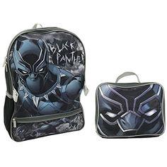 Marvel Black Panther Backpack With Lunch Kit Backpack - Padded adjustable  shoulder straps 80c70f836b285