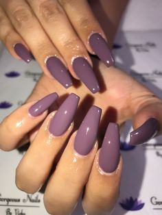 Nail art is a very popular trend these days and every woman you meet seems to have beautiful nails. It used to be that women would just go get a manicure or pedicure to get their nails trimmed and shaped with just a few coats of plain nail polish. Purple Nail Art, Purple Nail Polish, Polish Nails, Plum Nails, Purple Acrylic Nails, Acrylic Nails Coffin Matte, Purple Manicure, Acrylic Colors, Acrylic Nails Coffin Ballerinas