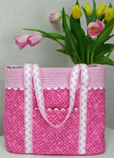 Sew N Go Tote Quilted Handbag - PDF Pattern by Jo-Lydias Attic Designs  + How to Add Rickrack to Seams Free Video Tutorial