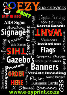 From A-Z, as easy as ABC, we can help you with any printing that you require.