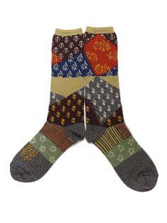 Patchwork style socks | Pattern clash | WEB SHOP - KAPITAL