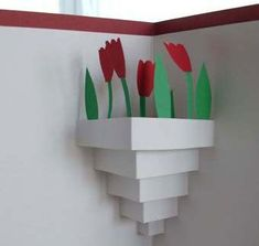 A pot of tulips for your loved one - Handmade Cards 2012 -2013 | Handmade Cards 2012 -2013