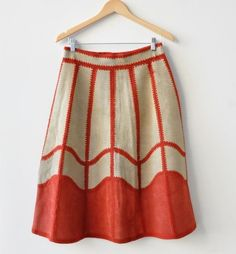Leather patchwork red macrame 70s vintage skirt