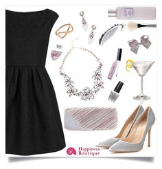 """""""Be You with Happiness Boutique"""" by lylaf ❤ liked on Polyvore featuring Boutique Moschino, Gianvito Rossi, Jacki Design, OPI, Bobbi Brown Cosmetics, Laura Mercier, NARS Cosmetics, esum and blackdress"""