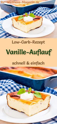 Low Carb Vanille-Auflauf – süßes Auflauf-Rezept Low carb recipe for vanilla casserole: low carbohydrate, sweet casserole – healthy, low in calories, without cereal flour, sugar free … carb free Low Carb Smoothies, Smoothie Recipes, Healthy Baking, Healthy Desserts, Vanilla Recipes, Baked Oats, Party Desserts, Low Carb Recipes, Food To Make