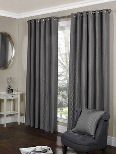 Incredible discounts & savings on eyelet curtains. We offer a wide range of affordable eyelet & tab top curtains. All with Free Delivery on order over Ready Made Eyelet Curtains, Curtains Uk, Tab Top Curtains, Silver Curtains, Beautiful Interiors, Lounge, Living Room, Luxury, House Styles
