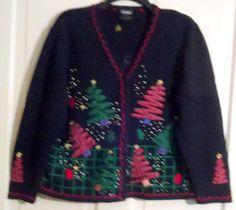 Studio Joy Plaid Ribbon Christmas Trees & Snowmen Ugly Black Cardigan Size L by AntiquesandStuff56 on Etsy
