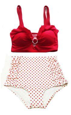 04daf57e33 Red Padded Top and White Red Polka dot Dots High-waist waisted Shorts  Bottom Vintage Retro Swimsuit Swimwear Bikini set Swimsuits