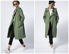 trench coat woman in greenkhakioversizelong by HerselfStudios