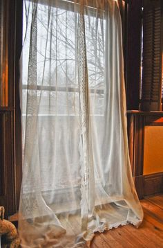 vintage net curtains with crocheted lace edges