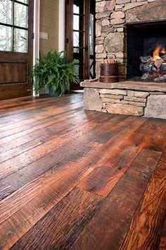 distressed pine floor...love it!
