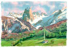 Watercolor, acuarela, paisaje Landscapes, Spain, Watercolor, Mountains, Portrait, Places, Illustration, Nature, Travel