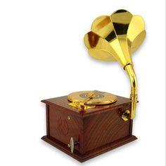 Frete grátis 6 Pieces nostálgico memórias!  Música Gramophone Vintage Box Music Box retro com arte do disco