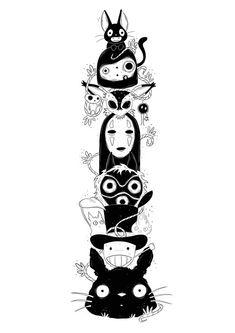 Ghibli Totem art print Tatuaje Studio Ghibli, Studio Ghibli Tattoo, Studio Ghibli Art, Studio Ghibli Movies, Totoro, Art Sketches, Art Drawings, Personajes Studio Ghibli, 16 Tattoo