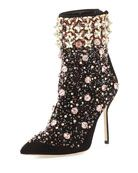 Zarina Embroidered Suede Boot, Black