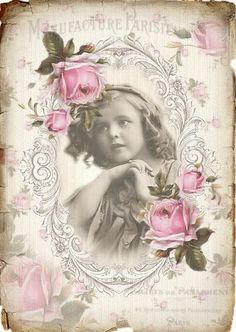 Vintage Pink Roses French Girl Graphic Image Art Fabric Block Doodaba 5 x 7 Decoupage Vintage, Éphémères Vintage, Images Vintage, Vintage Labels, Vintage Ephemera, Vintage Pictures, Vintage Cards, Vintage Paper, Vintage Postcards