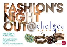 Join us Thursday, September 6th 6:30-9:00 pm for Boulder's 2nd Annual Fashion's Night Out! We will be hosting a huge Chan Luu trunk show, passing out door prizes all night, and serving Kim & Jake's cupcakes, and bubbles! You'll also get to register to win a free Chan Luu wrap bracelet! Chelsea 2088 Broadway Boulder CO 80302 www.chelseabella.com 303-447-3760