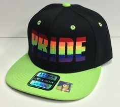 Neon Flat Bill Hats | FLAT-BILL-SNAPBACK-Hat-LGBT-Pride-Rainbow-Black-Crown-Neon-Green-Bill