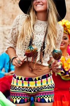 patterned shorts and crochet top
